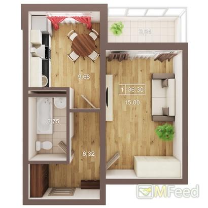 Компактная однокомнатная квартира
