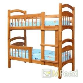 Безопасная двухъярусная кровать из массива сосны