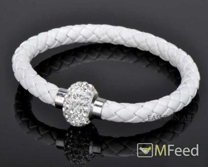 Браслет на магните, белый, белые кристаллы R429