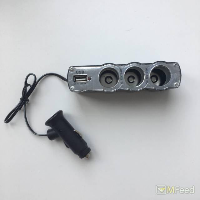 Автомобильный разветвитель на 3 порта и USB